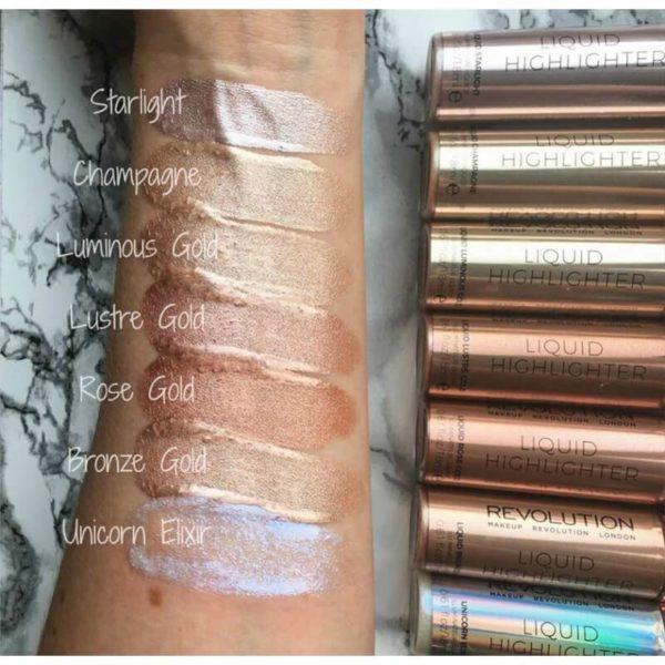 Makeup Revolution Rozświetlacz w Płynie - Lustre Gold Liquid Highlighter