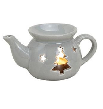 Kominek Ceramiczny - Czajniczek Choinka Szary