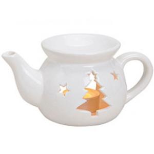 Kominek Ceramiczny - Czajniczek Choinka Biały
