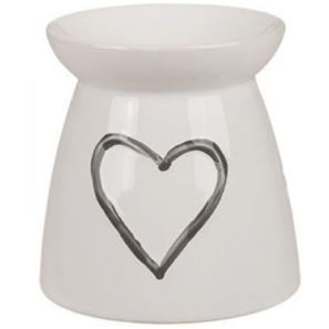 Kominek Ceramiczny - Duże Serce Biały