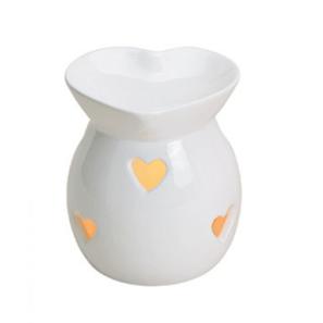 Kominek Ceramiczny - Serca Biały