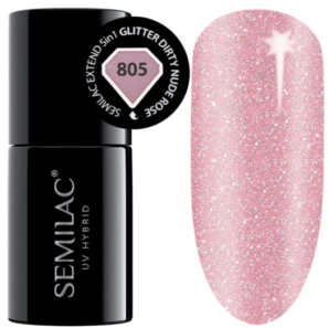 Semilac Extend 5in1 - 805 Glitter Dirty Nude Rose